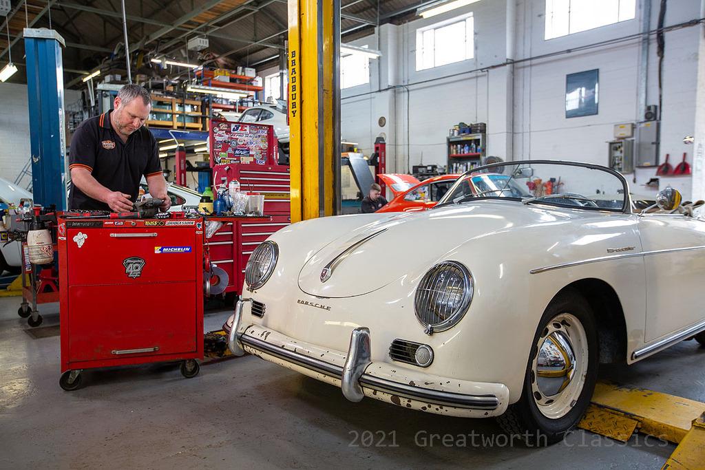 Porsche 356 on lift